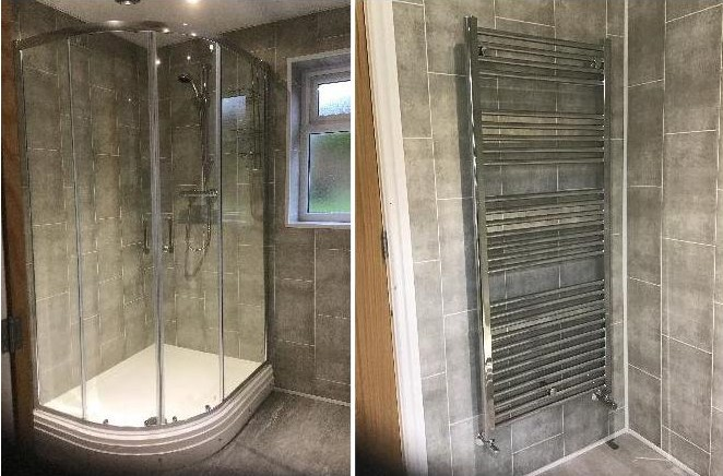 A stylish shower cubicle and modern chrome towel warmer/radiator complete the look.
